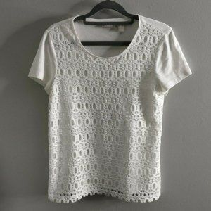 Chicos Layered Lace White T-Shirt Shirt Top